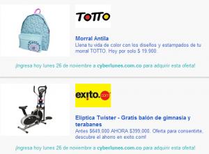 ejemplo de ofertas en cyberlunes colombia