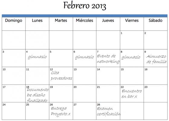Calendario de actividades de ejemplo